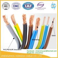 China pvc insulated copper stranded vs solid wiring copper AWG electric wire on sale