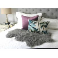 Hide Pelt Grey Bedroom Sheepskin Rugs 100% Mongolian Lamb Fur With Long Hair Manufactures