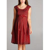 Trendy Red Color Lace Maternity Going Out Dresses Clothes Anti - Wrinkle Manufactures