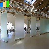 China Collapsible Office Folding Partition Walls Glass Folding Door 12mm Frameless Operable Glass Partition System on sale