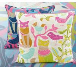 Cat and bird pattern print cushion,modern city style cushion,cartoon draw painting cushion Manufactures