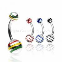 China 316L Surgical Stainless Steel Banana Jamaican Balls Navel Piercing Ring / Belly Bars For Party on sale