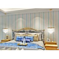 Quality Living Room Modern Removable Wallpaper Blue Color With Natural Plant Fibers , 0.53*10m/ roll for sale