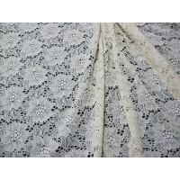 Ivory Elastic Flower Lace Fabric / Crochet Elastic Fabric Water Soluble CY-DK0013 Manufactures