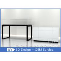 Glossy White Glass Jewelry Counter Display / Jewelry Showcases Manufactures