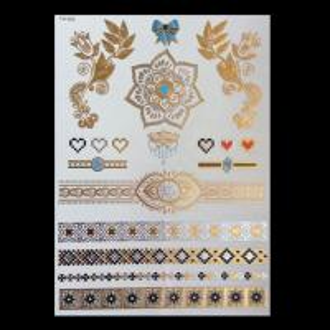 China new design gold foil metallic temporary body tattoo sticker on sale