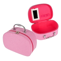 China Pink PU Leather Makeup Cosmetic Case With Mirror on sale