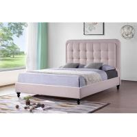 China Student Linen Queen Bed Solid Wood Frame High Density Sponge OEM Service on sale
