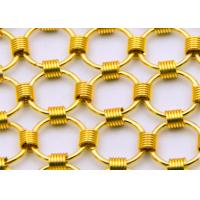China 1.5 x15mm Brass Color Metal Chainmail Ring Mesh Drapery For Window Screen on sale