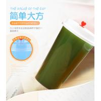 Printed Pp Plastic Cup With Dome Lid , Transparent Plastic Juice Cup With Straw Manufactures