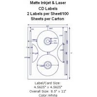 China Inkjet & Laser CD/DVD Labels 2 Labels per Sheet/100 Sheets per Carton on sale