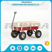 Light Duty Garden Mesh Cart 21kg , Red Color Steel Garden Wagon 10inches Wheel Manufactures