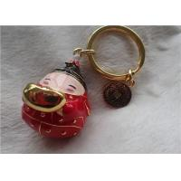 Chinese Style Ceramic Fat Baby Gold Ingot Key Chain In Red Coat Manufactures