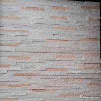 White And Pink Quartzite Stone Veneer With Machine Cut Edges Split Surface Manufactures