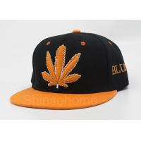 6 Panel Acrylic Flat Bill Hats Black Orange With Maple Leaf Logo Manufactures