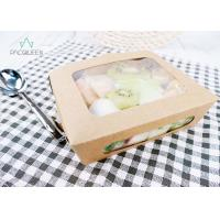 China Clear Windowed Kraft Paper Takeaway Boxes For Fruit Salad Oil Resistant on sale
