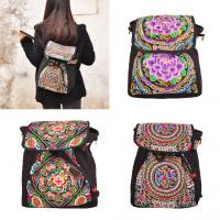 Quality 2016 new design peony flower colorful enthnic embroidery backpack form factory for sale