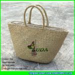 LUDA wholesale natural purse and handbags logo printed seagrass straw handbags Manufactures
