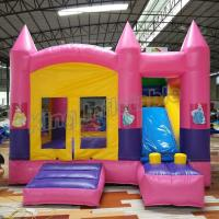Quality Outdoor Kids Game Princess Inflatable Bouncy Castle With Slide In Pink Colour for sale