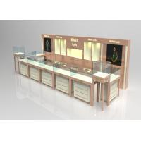 Wooden Glass Beige Color Jewellery Shop Display Cabinets , Jewelry Display Plinths Manufactures