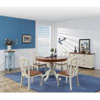 Mediterranean Style Dining room Furniture by wood table and chairs with Buffet Cabinet in white/blue painting Manufactures
