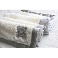 White Cotton Baby Blanket , Embroidered Baby Blankets Bear Sherpa Manufactures