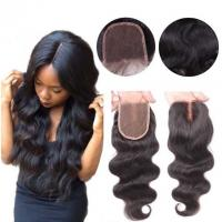 Middle Part Human Hair Lace Closure With Baby Hair 4x4 Natural Color Body Wave Manufactures