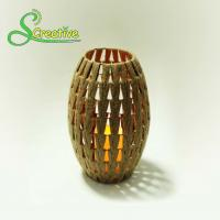 Coffee Color Led Rattan Solar Garden Lights Wicker Candle Lantern Energy Efficient Manufactures
