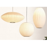China Indoor Lantern 40w White Fabric Hanging Pendant Lamps on sale