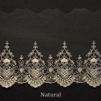 Embroidered Cotton Mesh Nylon Tulle Bridal Lace Trim , 5.2 Inch Scalloped Lace Trim Manufactures