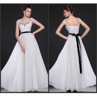 Beaded Embroidery Prom Dress , Bow Ribbon Prom Dresses with Cap Sleeves Manufactures
