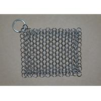 Rectangular Chainmail Cast Iron Pan Scrubber Stainless Steel Wire Scrubber Manufactures