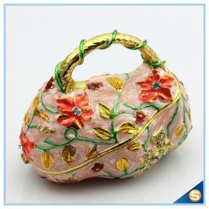 China Fashion Handbag Design trinket Box Painting Flower With Crystal Trinket Box SCJ561 on sale