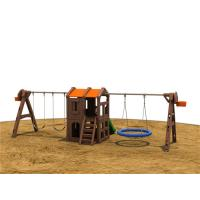 Orange Single Children Swing Sets With Playhouse Galvanized Post Manufactures