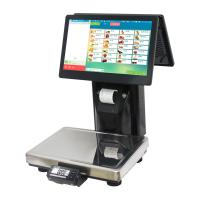 Black Barcode Printing Scale , Dual Touch Screen Label Printing Weighing Scale Manufactures