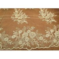 Gold Mesh Tulle Corded Lace Fabric with Floral Embroidery for Bridal Wedding Dress Manufactures