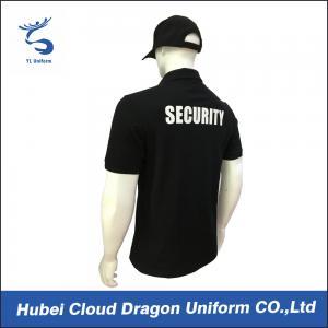 China CVC Black Security T Shirt / Mens Polo Shirts With Pockets , Embroidery / Print Logo on sale