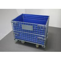 Blue Folding Wire Container , Cold Galvanized Collapsible Metal Turnover Box With Hollow Board