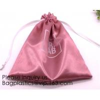 Gold Blue White Satin Packaging Bag For Towel,White Satin Bag With Gold Printing