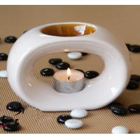 White Shape Ceramic Tealight Aroma Oil Warmer with Candle Fragrance Bottle TS-CB060 Manufactures