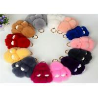 13-20cm Fluffy Bunny Keychain With 100% PP Cotton Filling / Real Rabbit Fur Manufactures