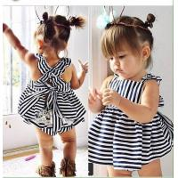 Agou 2016 Ins Hot Baby Girl Sets Striped Bow Princess Toddler Clothing Sets Infant Kids