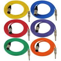 "6ft Patch Cable Cords - XLR Male To 1/4"" TRS Color Cables - 6' Balanced Snake Cord Manufactures"