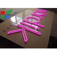 Pink Flex Signage Neon Letter Signs With Clear Backing For Company Wall Branding Manufactures