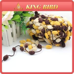 China Glove fancy yarn snow ball yarn pom pom yarn for hand knitting on sale