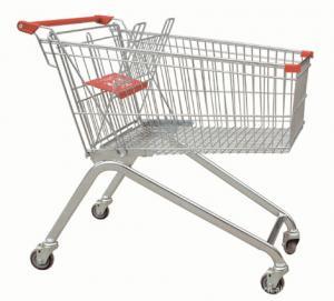Powder Coating Supermarket Shopping Trolley Cart , 4 Wheel Metal Shopping Carts Manufactures