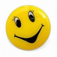 Smile Blinking Pins, Made of PCB Material, with Silkscreen and Offset Printing Manufactures