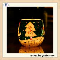 wholesale Crackle Glass Mosaic Candle holder for wedding centerpeice Manufactures