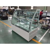China Curved Glass Refrigerated Bakery Display Case Digital Thermostat With Marble Base on sale