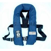 SOLAS 275N Navy Blue Inflatable Life Jacket Double Air Chamber 60G Cylinder With Harness D Ring Manufactures